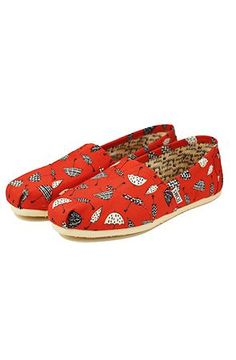 c7adf617794 Toms Shoes The Classic Slips Ons Red Canvas Umbrella Print