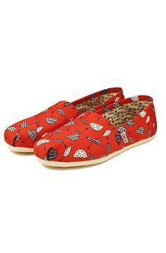 03d0da49cd8 Toms Shoes The Classic Slips Ons Red Canvas Umbrella Print