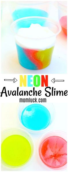 Neon Avalanche Slime. Avalanche Slime is so much fun to make! The clear slime and white slime combine together to make a super cool snow store effect inside the slime. #slime #slimerecipes #avalancheslime #howtomakeslime #viralslimerecipes