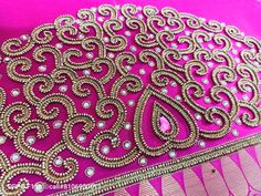 Cutwork Blouse Designs, Wedding Saree Blouse Designs, Simple Blouse Designs, Beaded Embroidery, Zardosi Embroidery, Hand Work Blouse Design, Border Embroidery Designs, Designer Blouse Patterns, Hand Designs