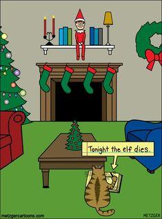 Der Bent Pinky von Scott Metzger für den Dezember 2013 - Humor I Enjoy :-) - Cats Christmas Jokes, Christmas Cartoons, Christmas Cats, Christmas Comics, Xmas, Merry Christmas, Christmas Time, Naughty Christmas, Christmas Sayings
