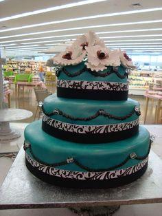 Winter teal wedding cake | visit lovelyweddingday com