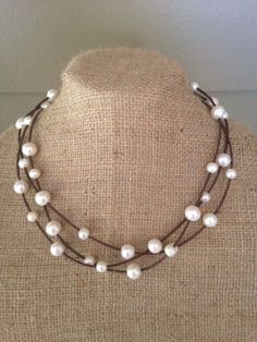 Triple Strand Freshwater Pearl and Leather Necklace by ChristianOPearls on Etsy