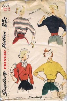 Vintage Simplicity 1950s Blouse Sewing Pattern - Very Mad Men Daywear!