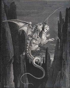 """Geryon, Monster of Fraud"" - illustration by Gustave Doré from the 1861 edition of Dante Alighieri's epic poem the 'Divine Comedy' (Canto XVI). Gustave Dore, Dante Alighieri, Illustrations, Illustration Art, Art Sombre, Arte Indie, Art Noir, Beast, Les Fables"