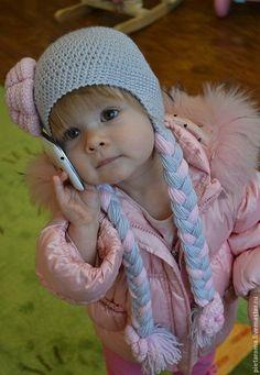 Купить Шапка с цветком - шапка, шапка вязаная, шапка зимняя, шапка с ушками, шапка детская