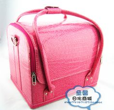2014 Real Direct Selling Solid Fashion Pu Zipper Make-up Box Wine Violet Large Cosmetic Tool Box Shoulder Makeup Case
