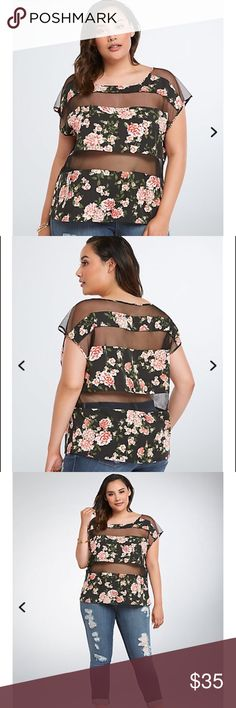 Torrid floral mesh top size 0 Torrid floral mesh top size 0🌴perfect for the Summer🌴you can also wear a black tank top underneath...This dolman top has bright floral and see-through mesh insets. Stock photo credit torrid.com first three photos...I will be adding more photos later torrid Tops