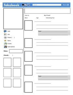 Facebook Template for Google Docs - students can create a Facebook ...