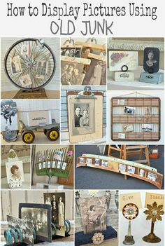 12 Ways to Display Pictures Using Old Junk. From MySalvagedTreasures.com