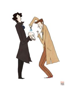 SuperSonicWho gingerhaze.tumbler.com Commission for frecklesandfarce, who requested the Tenth Doctor and Cumberbatch Sherlock doing SCIENCEY things together.