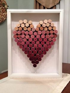 Ombre Wine Cork Heart Shadowbox by BurgundyRibbonDesign on Etsy