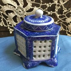 Vintage Asian Reticulated Inkwell/ Blue and White Porcelain / Hexagon Shape by SunshineVintageGoods on Etsy