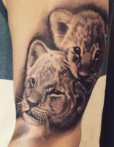 50 Eye-Catching Lion Tattoos That'll Make You Want To Get Inked - KickAss Things - Susanne F. van Zeeland - 50 Eye-Catching Lion Tattoos That'll Make You Want To Get Inked - KickAss Things lion cubs tattoo © tattoo artist Ljungberg Tattoo 💟🙊💟🙊💟🙊💟 - Lioness And Cub Tattoo, Lion Cub Tattoo, Lioness And Cubs, Cubs Tattoo, Lion Tattoo Design, Tribal Tattoo Designs, Tattoos Tribal, Tattoos Phönix, Baby Tattoos