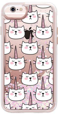 Casetify iPhone 6s Liquid Glitter Case - Caticorn Cat Unicorn Pattern - White Pink Black - Transparent by Happy Cat Prints