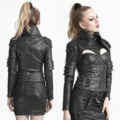 Sexy Black Spike PU Leather Punk Rock Warrior Jackets for Women SKU-11401683