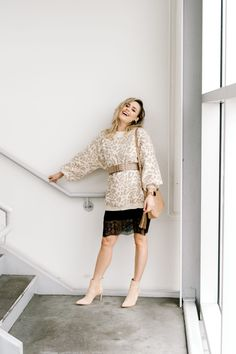 How to Layer a Leopard Sweater London Fashion Bloggers, Fashion Trends, Fashion Blogs, Fashion Group, Fashion Ideas, Workwear Fashion, Fashion Outfits, Olsen Fashion, Black Slip Dress