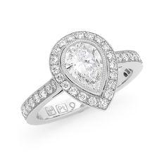 Pear shape diamond engagement ring - Fairfax & Roberts