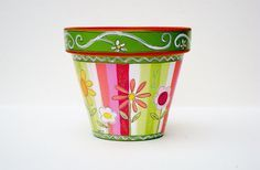 Hand Painted Terra Cotta Pot 4 Inch Sherbet by ThePaintedPine, $20.00