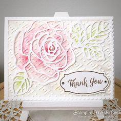 Stampin'Up, Rose Wonder stamp set, Thank you card. スタンピンアップ