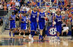 UK players returned to the court after carrying Kentucky Wildcats forward Nerlens Noel off the court as the University of Kentucky played the University of Florida in the O'Connell Center in Gainesville, Fl., Tuesday, February 12, 2013