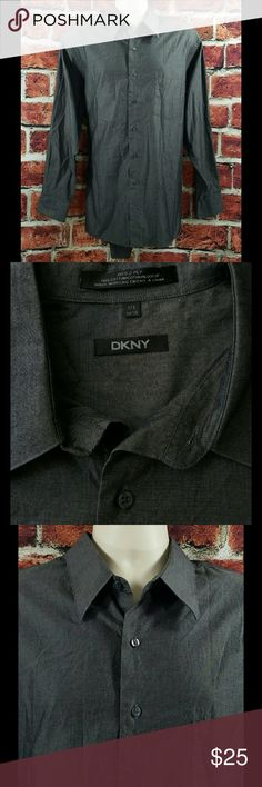 DKNY Mens DKNY Dark Gray 80's 2 Ply Cotton Mens DKNY Dark Gray 80's 2 Ply Cotton Dress Shirt Size: XL 17.5 34/35  About this item:  Excellent Condition Long Tail 80's 2 Ply Cotton Dark Gray  Size: 17.5 34/35 Across Chest: 25.5 Length: 33 Sleeve: 24 DKNY Shirts Dress Shirts