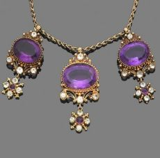 An amethyst and chrysoberyl pendant necklace The central pendant composed of an oval mixed-cut amethyst within a cannetille border, highlighted by four circular-cut chrysoberyls, terminating in an amethyst Purple Jewelry, Amethyst Jewelry, Gemstone Jewelry, Gold Jewelry, Jewelry Box, Jewelry Accessories, Jewelry Necklaces, Jewelry Design, Bullet Jewelry