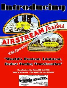 Vintage Airstream Travel Trailer Advertising Poster 1930s Art Deco Design