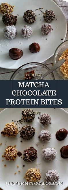 Matcha chocolate natural protein bites from scratch recipe guest post from Kitchen Takeovers. Healthy Protein Snacks, High Protein Recipes, Healthy Snacks For Kids, Healthy Food, Healthy Eating, Whole Food Recipes, Snack Recipes, Dessert Recipes, Healthy Recipes