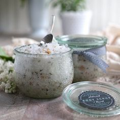 This homemade salt based body scrub is so luxurious with almond oil and geranium essential oil.