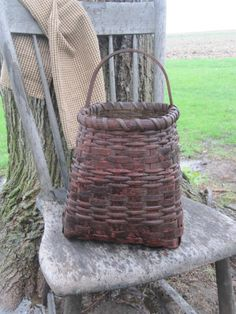 Extreme Primitive Painted Basket Americana by 1803ohiofarmbaskets
