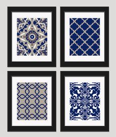 Good Navy Blue Tan Art Navy Blue Wall Art Home Decor By Inkandnectar, $45.00