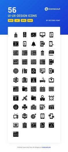 UI-UX-Design  Icon Pack - 56 Glyph Icons Ui Ux Design, Icon Design, Glyph Icon, Png Icons, More Icon, Icon Pack, Icon Font, Glyphs, Design Development