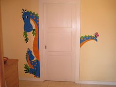 The Peek-A-Saurus DIY Paint by Number Wall Mural by Elephants on the Wall