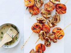 Honey-Thyme Chicken-and-Apricot Kebabs | These supereasy chicken kebabs have just two steps. Get the recipe on Food & Wine.
