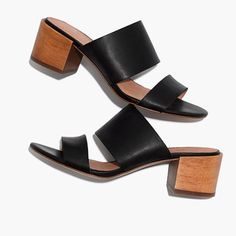 """Sleek and minimalist, these strappy leather mules have walkable wooden heels and hidden elastic panels (aka require way less break-in time). Cushiness alert: We've added an extra layer of padding to make them even easier on the feet. When you select your size, """"H"""" equals a half size. 2"""" heel.Leather upper and lining.Man-made sole.Import."""
