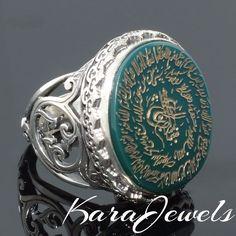 Ayat al-Kursi engraved Green Agate Aqeeq Islamic men ring 925 Sterling Silver #KaraJewels #Islamic