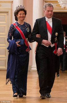 dailymail:  80th Birthday Celebrations, Day 1, May 9, 2017-Queen Silvia and the President of Finland Sauli Niinisto