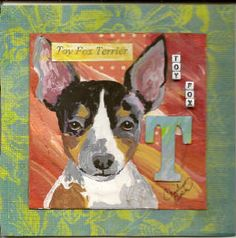 "Toy Fox Terrier 4"" x 4"" Mixed Media on Watercolor Paper"
