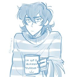 """""""I'm going to seize this opportunity to draw Keith in one of my sweaters and project how tired I am onto him. Lance got him the mug of course."""" - by elentori-art"""