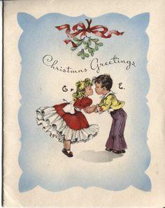 Vintage Christmas Card Children Under The Mistletoe   eBay