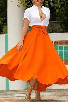 Long Skirt Outfits, Long Maxi Skirts, Casual Skirts, Summer Skirts, Modest Outfits, A Line Skirts, Trendy Outfits, Tie Skirt, Office Fashion