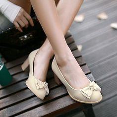 Womens Girls Slip on Bowknot Sweet Oxfords Chunky Heel Pumps Court Shoes EU34-43