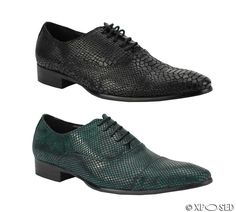Mens Real Leather Black Green Snakeskin Effect Unique Oxford Lace Up Retro Shoes