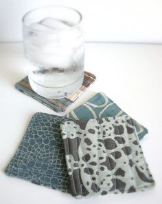 Reversible Fabric Coaster Set in Recycled Ice Blue and Brown Fabric Coasters, Coaster Set, New Product, Repurposed, Recycling, Projects To Try, Ice, Sewing, Create
