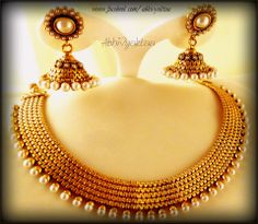 Classic Beauty by Aвнινуαктαα- Engraved Pearl Jhumka Necklace Set.