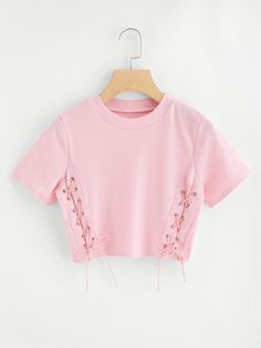 High Neck Eyelet Lace Up Crop Tee From Runway to Realway, Romwe aims to bring the top fast fashion into your days Girls Fashion Clothes, Kids Outfits Girls, Teen Fashion Outfits, Cute Fashion, Fast Fashion, Fashion Styles, Crop Top Outfits, Cute Casual Outfits, Stylish Outfits
