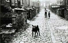 Jeffrey Blankfort - Leeds, England (alleyway between rowhouses, boys playing, dog), 1971