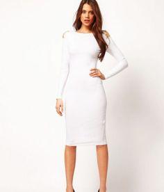vestido tubinho com manga longa branco de festa