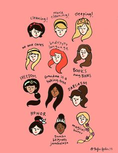 Disney princesses. Yep, that sums it up! :D